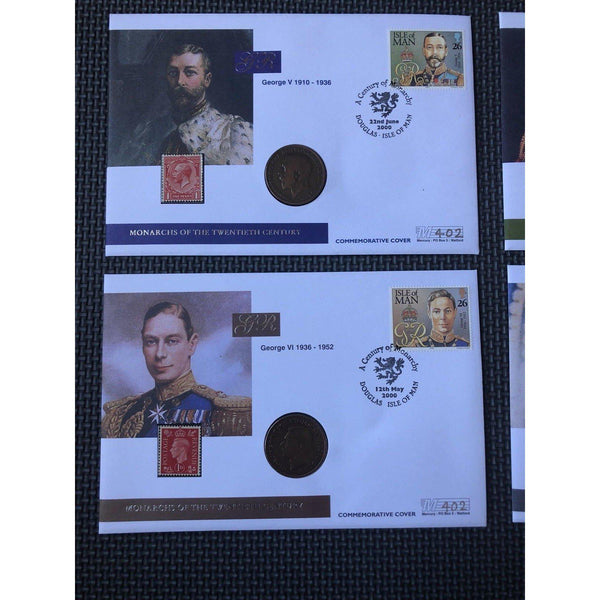 4 x Isle Of Man Coin Covers - Monarchs Of The Twentieth Century - - uk-cover-lover