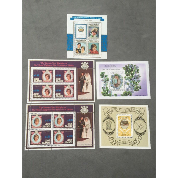 21st Birthday Of The Princess Of Wales 5 Mini Sheets MNH (see pics) - uk-cover-lover