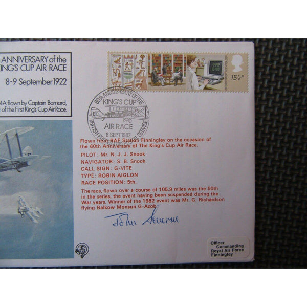 RAF FF 40 Flown Cover Signed By J de M Severne 08/09/82 - uk-cover-lover