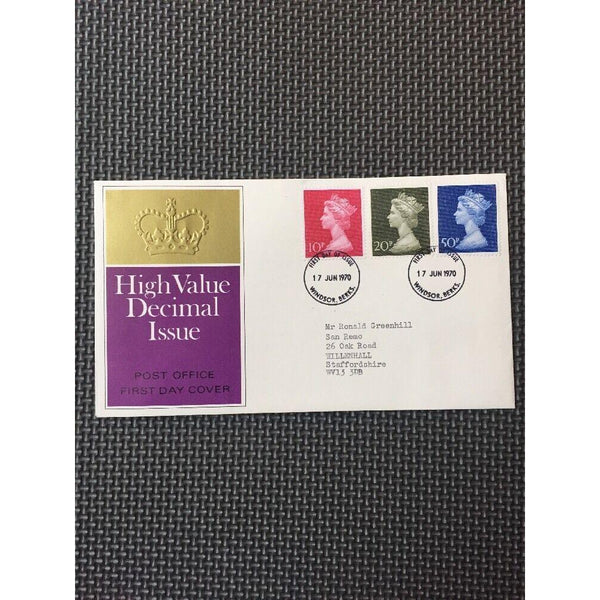 G.B. 1970 High Value Decimal Issue PM Windsor 17/06/70 Cat £30 - uk-cover-lover