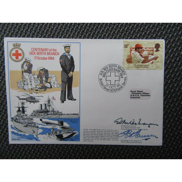 RNSCb(4)8 'Centenary Of The Sick Berth Branch' Double Signed Cover 17/10/84 - uk-cover-lover