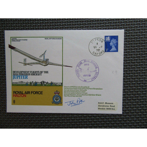 'Jupiter' Cover Signed 'John Potter' PM 'Worlds First Man-Powered AirMail' 1972 - uk-cover-lover