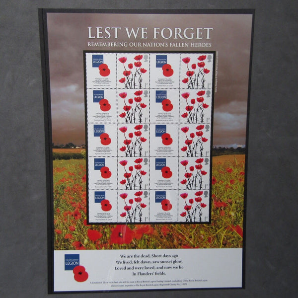 "G.B 2006 ""Lest We Forget"" British Legion Stamp Sheet Limited Edition - uk-cover-lover"