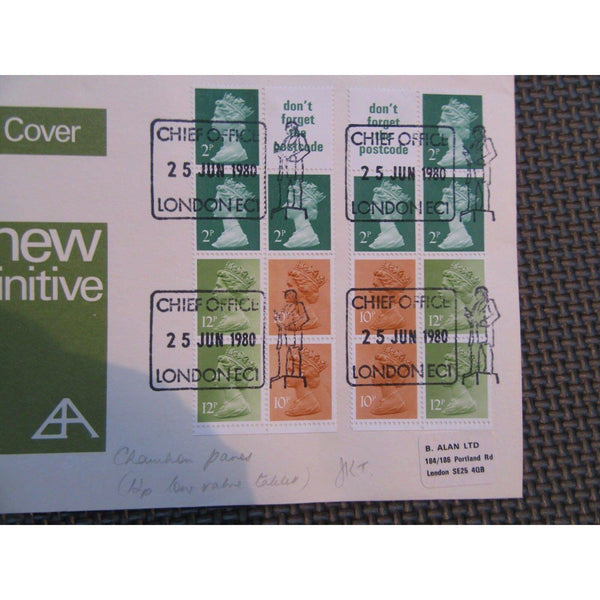 Stamp Book Pane Cover '50p Chambon' Pair Mirror Image Panes 25/06/80 - uk-cover-lover