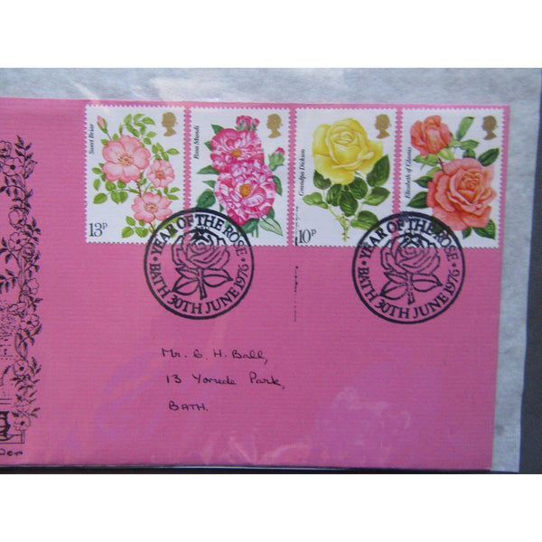 "G.B FDC 1976 ""Roses"" PM ""Year Of The Rose, Bath"" City Of Bath Official Cover - uk-cover-lover"