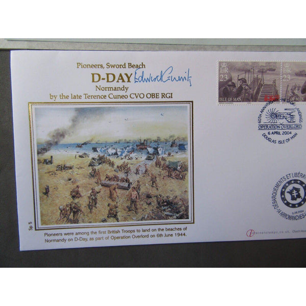 WW2 Pioneers, Normandy Sword Beach Cover Signed 'Edward Gueritz' 06/04/04 - uk-cover-lover