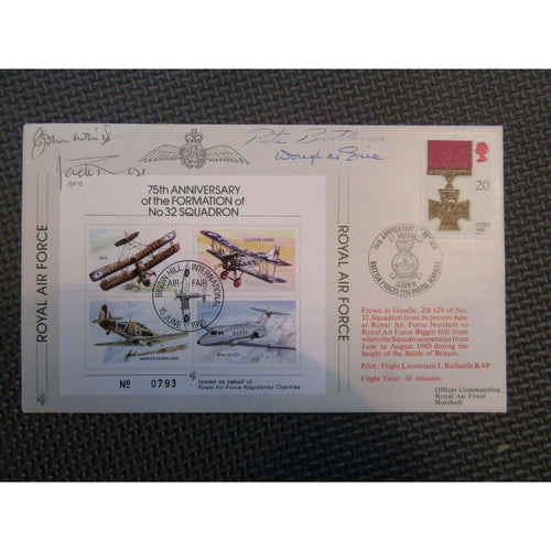 "JSF 12 ""75th Anniv. Formation No 32 Squadron' Multiple Signed Cover 15/06/91 - uk-cover-lover"