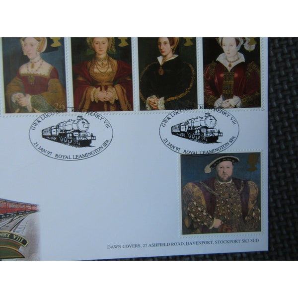 1997 Dawn FDC The Great Tudor PM - GWR Loco King Henry VIII Leamington Spa - uk-cover-lover