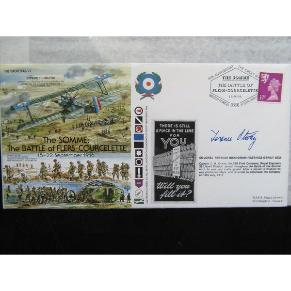 'The Somme - Battle Of Flers-Courcelette' Signed Cover 'Terence Otway' 15/09/96 - uk-cover-lover