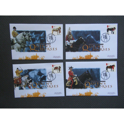 "G.B FDC's ""All The Queen's Horses"" Set Of 4 Covers 08/07/97 - uk-cover-lover"