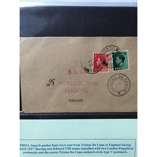 London To Tristan Da Cunha 1937 Paqueboat Cover 3 Postmarks (see pics) - uk-cover-lover