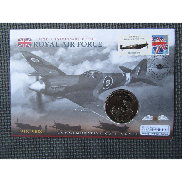 90th Anniversary Of The Royal Air Force - Guernsey £5 Coin Cover - 01/01/08 - uk-cover-lover