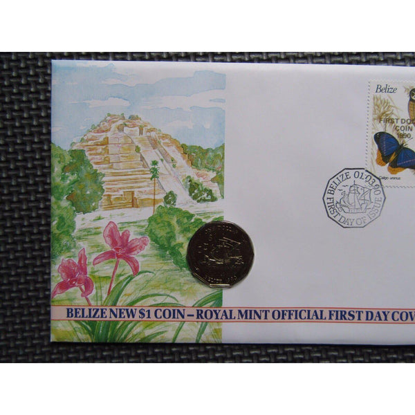 Belize New $1 Coin - Royal Mint Official First Day Cover 01/03/90 - uk-cover-lover