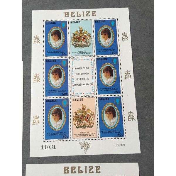 21st Birthday Of The Princess Of Wales Belize 4 Mini Sheets MNH (see pics) - uk-cover-lover