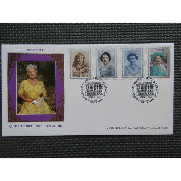 Covercraft FDC - Queen Mother's 90th Birthday PM Clarence House - 02/08/90 - uk-cover-lover
