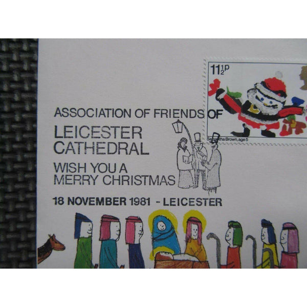 G.B FDC - Christmas 1981 PM Friends of Leicester Cathedral - 18/11/81 - uk-cover-lover