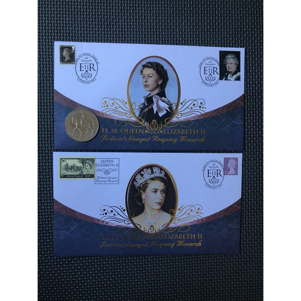 2015 G.B Coin Cover - Queen Elizabeth II - Britain's Longest Running Monarch - uk-cover-lover