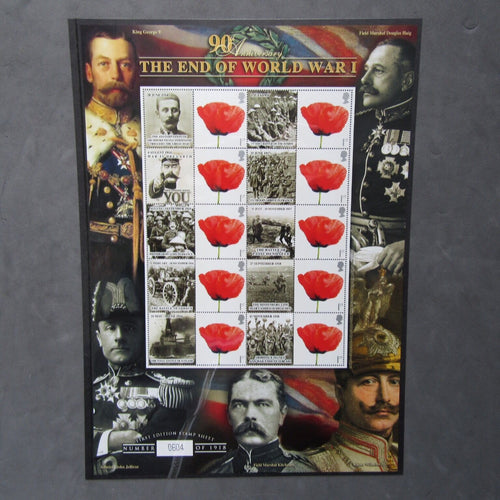 "G.B 2008 Stamp Sheet ""90th Anniv. The End Of World War I"" Smiler Sheet Ltd Ed. - uk-cover-lover"