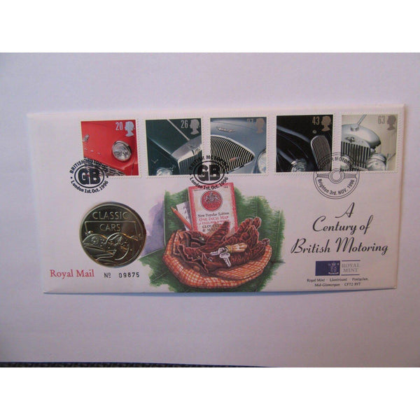 "G.B Royal Mail / Mint Coin Cover ""A Century Of British Motoring"" 03/11/96 - uk-cover-lover"