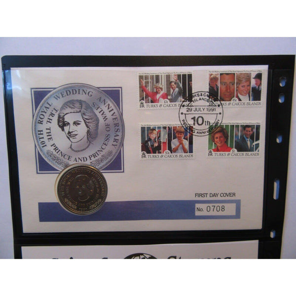 Turks & Caicos Islands - Royal Wedding Anniversary Coin Cover 29/07/91 - uk-cover-lover