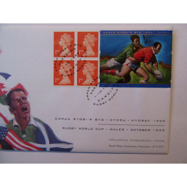 "G.B 1999 Coin Cover ""Rugby World Cup"" Ltd Edition 01/10/99 - uk-cover-lover"