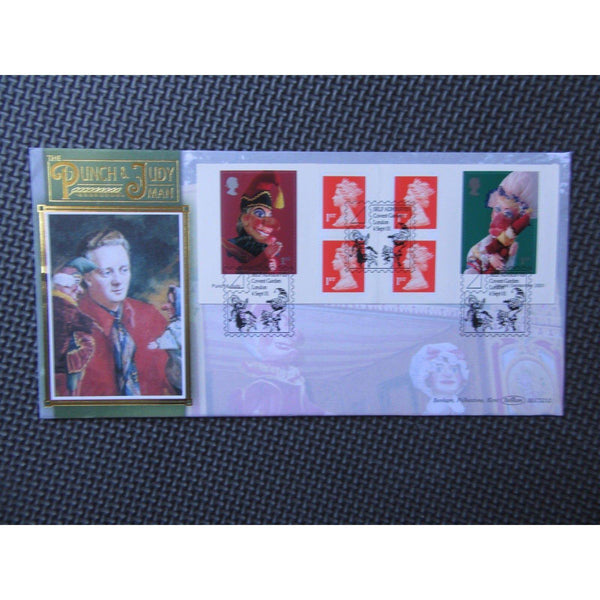 G.B Benham - Punch & Judy Self Adhesive Stamp Booklet Pane Cover - 04/09/01 - uk-cover-lover
