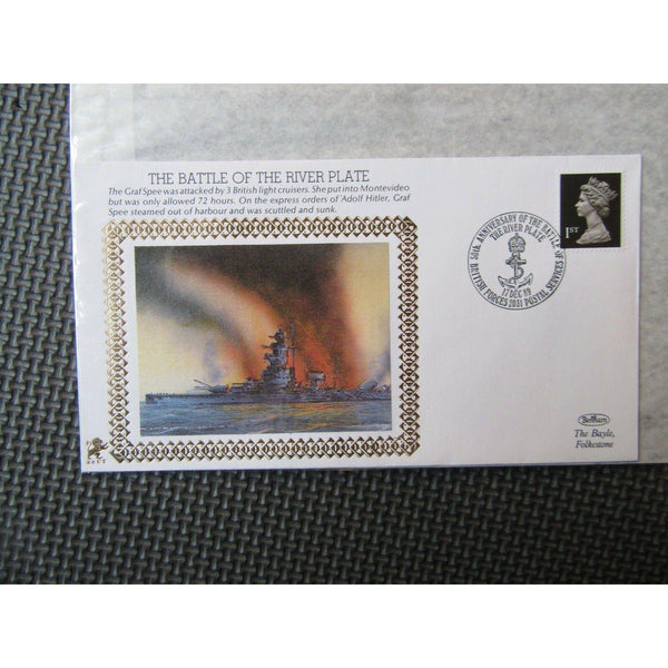 "Benham 22ct Gold Small Silk WWII Cover ""The Battle Of The River Plate"" 17/12/89 - uk-cover-lover"