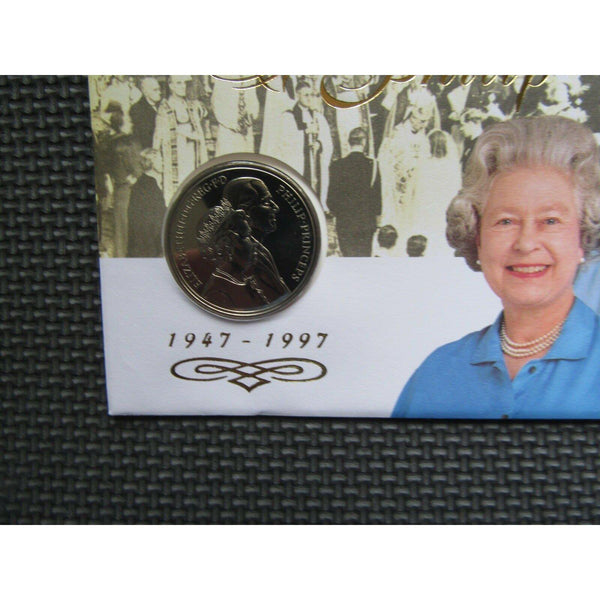"G.B £5 Coin Cover ""Golden Wedding Anniversary"" 10/07/97 - uk-cover-lover"