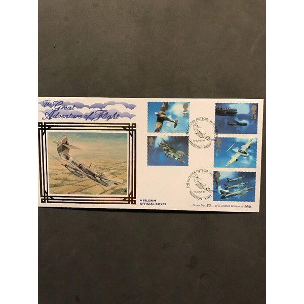 G.B FDC Architects Of The Air - Gloster Meteor - Pilgrim Cover 10/06/97 Ltd Edt - uk-cover-lover