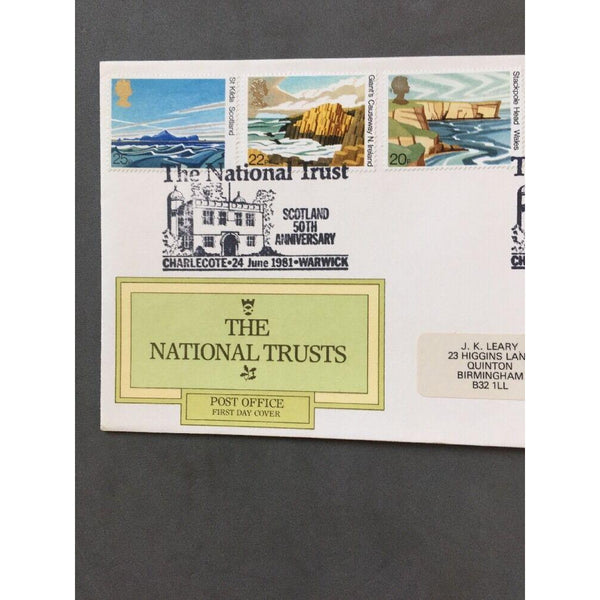 "G.B FDC 1981 The National Trusts - PM ""The N.T Scotland, Charlecote, Warwick"" - uk-cover-lover"