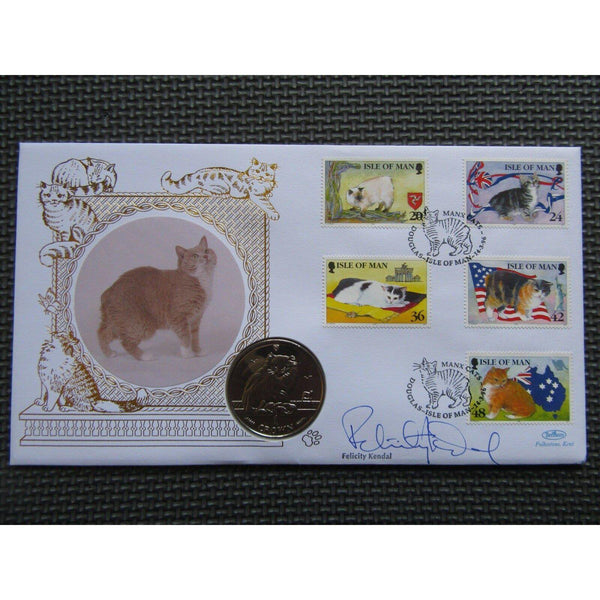 1996 Benham Cats One Crown Coin Cover Signed By Felicity Kendal 14/03/96 - uk-cover-lover