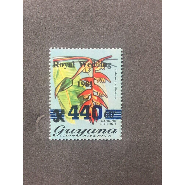 Guyana 1982 Surcharged 440c on 60c on 3c Royal Wedding Overprint, 1982 Omitted - uk-cover-lover