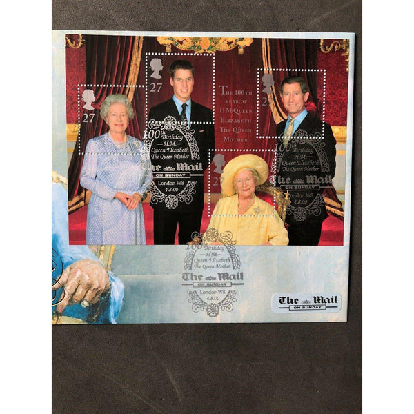 G.B FDC The Queen Mother 100th Birthday - PM 'The Mail On Sunday, London W8' - uk-cover-lover