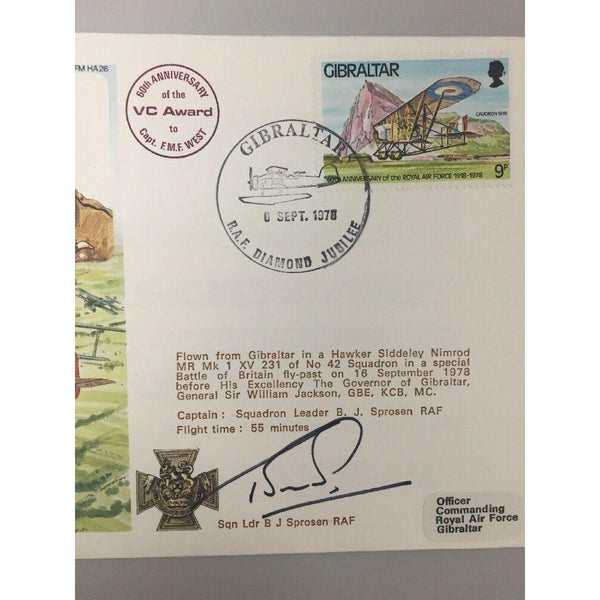 1978 RAF Historic Aviators Cover F.M.F West VC, CBE, MC Crew Signed - uk-cover-lover