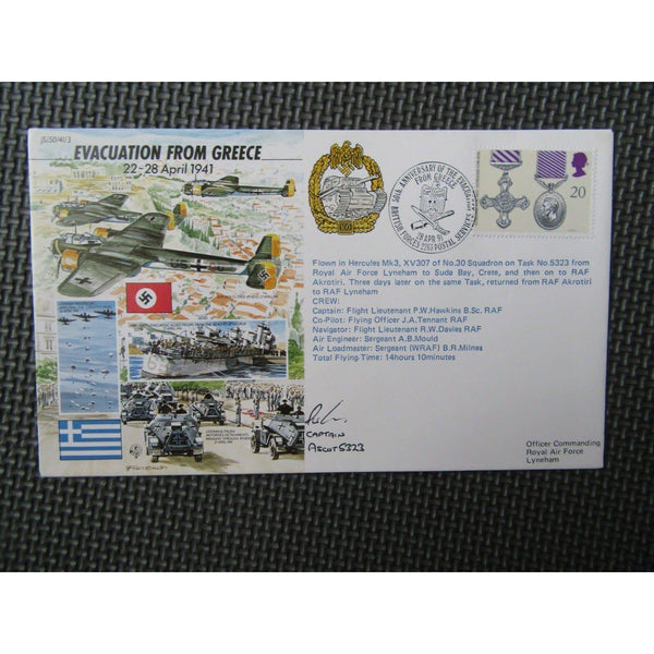 'Evacuation From Greece' Captain Ascot 5323 Signed & Flown Cover 28/04/91 - uk-cover-lover
