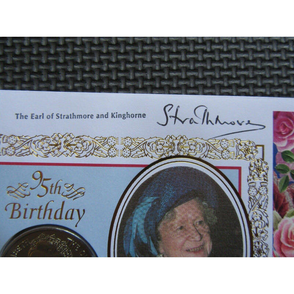 1995 Benham Coin Cover The Queen Mother Signed Earl of Strathmore and Kinghorne - uk-cover-lover