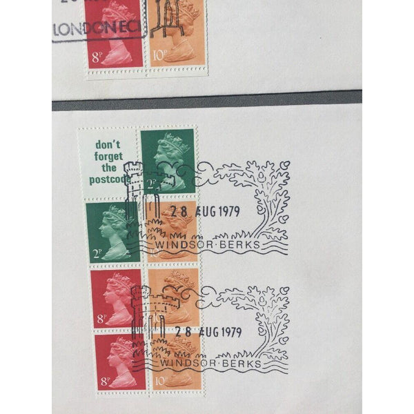 "G.B Stamp Book Panes 28/08/79 PM ""Windsor, Berks"" & ""Chief Office, London"" - uk-cover-lover"