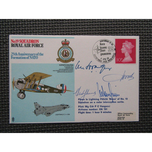 No 19 Squadron 25th Anniversary Formation of Nato Multi Signed Cover 04/04/74 - uk-cover-lover