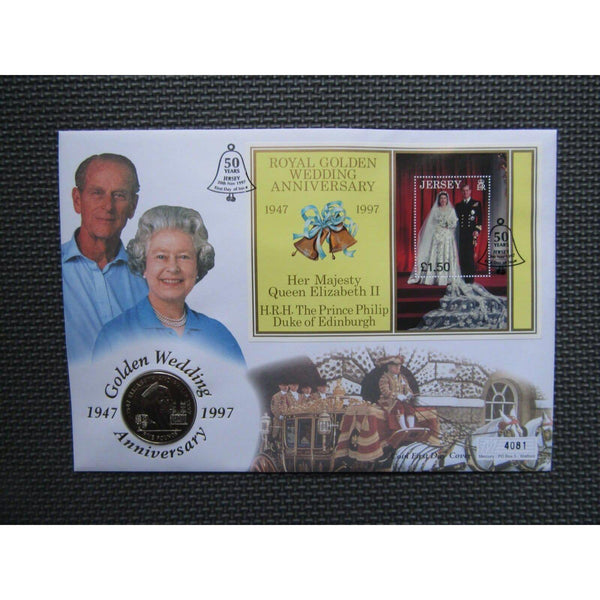 "Jersey £5 Coin Cover ""Golden Wedding Anniversary"" 20/11/97 - uk-cover-lover"