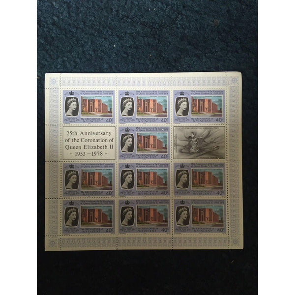 Folder Of St. Vincent 4 MMH Stamp Sheets 25th Anniversary Of The Coronation - uk-cover-lover