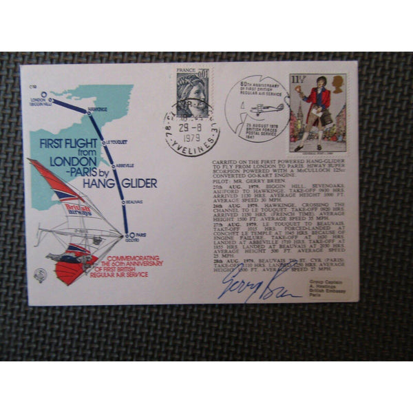"First Flight London To Paris By Hang Glider Signed ""Gerry Breen"" Cover 25/08/79 - uk-cover-lover"