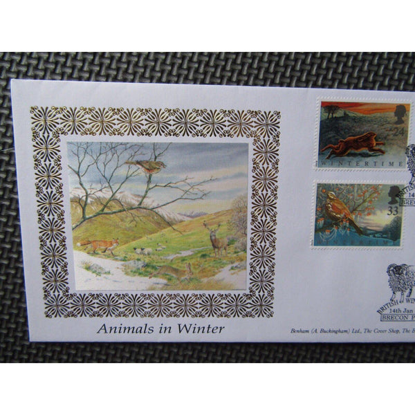 "G.B Benham FDC ""Animals In Winter"" PM ""Brecon Powys"" BLCS 70B 14/01/92 - uk-cover-lover"