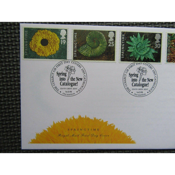 "G.B FDC ""Springtime"" PM ""Spring Into The New Catalogue, Leaves Green"" 14/03/95 - uk-cover-lover"