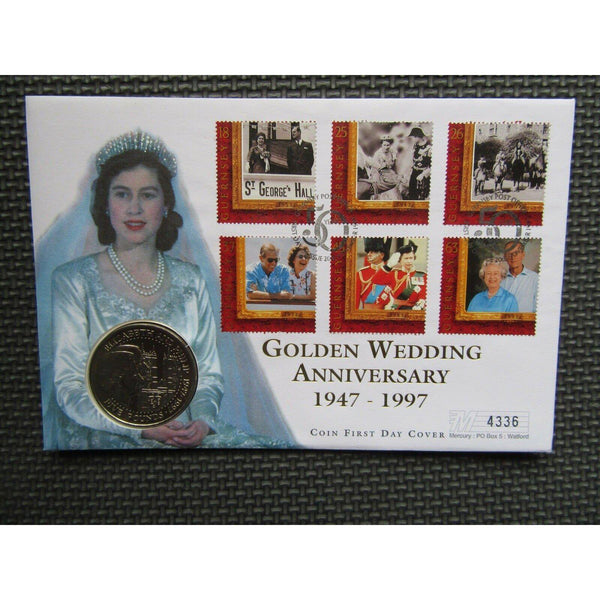 "Guernsey £5 Coin Cover ""Golden Wedding Anniversary"" 20/11/97 - uk-cover-lover"