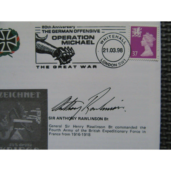 The German Offensive - Operation 'Michael' Signed Anthony Rawlinson 21/03/98 - uk-cover-lover