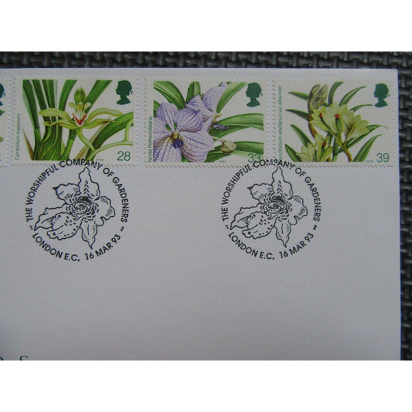 "G.B First Day Cover ""Orchids"" PM ""Worshipful Company Of Gardeners, EC"" 16/03/93 - uk-cover-lover"