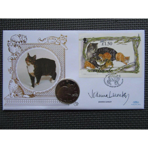 1996 Benham Cats One Crown Coin Cover Signed By Joanna Lumley - 14/03/96 - uk-cover-lover