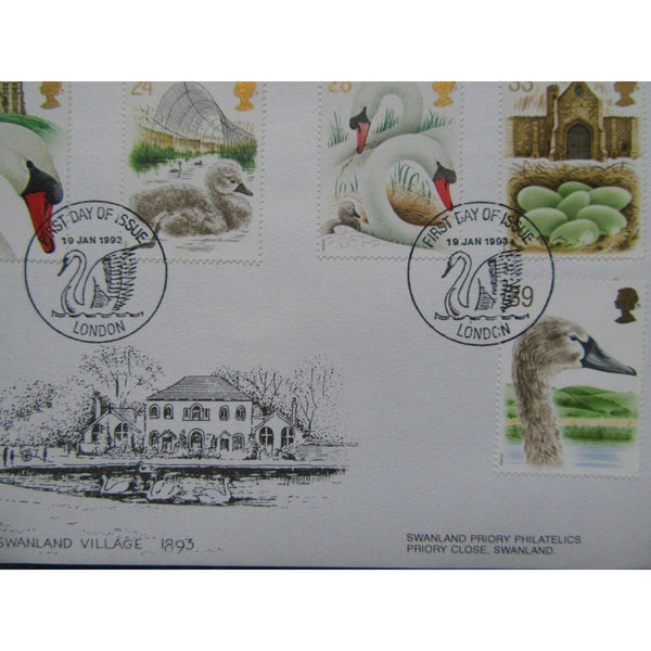 Swanland Priory FDC 'Swans' PM 'FDI London' 19/01/93 (see description) - uk-cover-lover