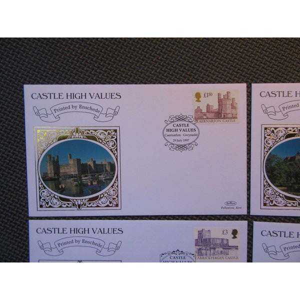 "Benham Covers ""Castles High Values"" Printed By Enschede 29/07/97 - uk-cover-lover"
