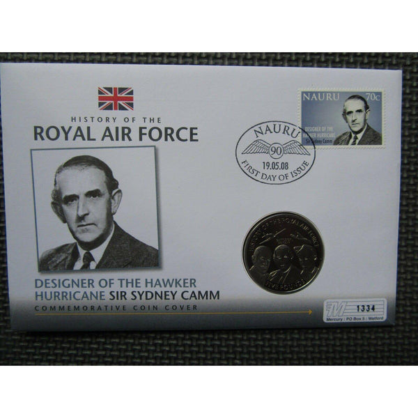 History Of The RAF - Sir Sydney Camm - Jersey £5 Coin Cover - 19/05/08 - uk-cover-lover